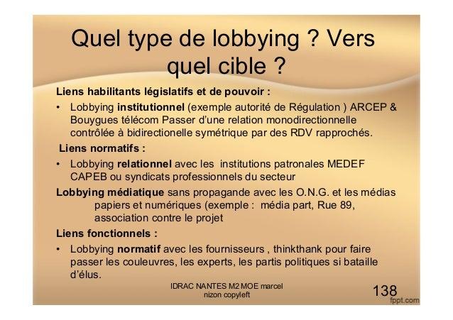 Quel type de lobbying ? Vers quel cible ? Liens habilitants législatifs et de pouvoir : • Lobbying institutionnel (exempl...
