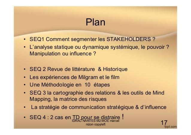Plan • SEQ1 Comment segmenter les STAKEHOLDERS ? • L'analyse statique ou dynamique systémique, le pouvoir ? Manipulation...