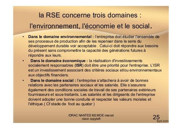 la RSE concerne trois domaines : l'environnement, l'économie et le social. • Dans le domaine environnemental : l'entrepri...
