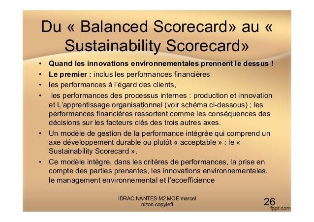 Du « Balanced Scorecard» au « Sustainability Scorecard» • Quand les innovations environnementales prennent le dessus ! •...