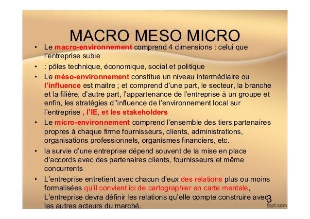 MACRO MESO MICRO • Le macro-environnement comprend 4 dimensions : celui que l'entreprise subie • : pôles technique, écon...