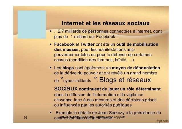 Internet et les réseaux sociaux § , 2,7 milliards de personnes connectées à internet, dont plus de 1 milliard sur Facebo...