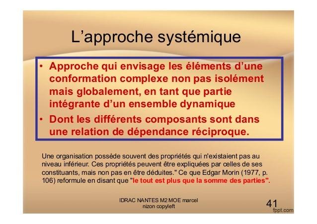 L'approche systémique IDRAC NANTES M2 MOE marcel nizon copyleft 41 • Approche qui envisage les éléments d'une conformatio...