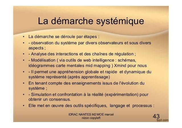 La démarche systémique • La démarche se déroule par étapes : • - observation du système par divers observateurs et sous ...
