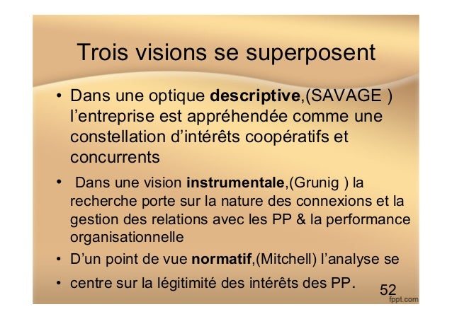Trois visions se superposent • Dans une optique descriptive,(SAVAGE ) l'entreprise est appréhendée comme une constellatio...
