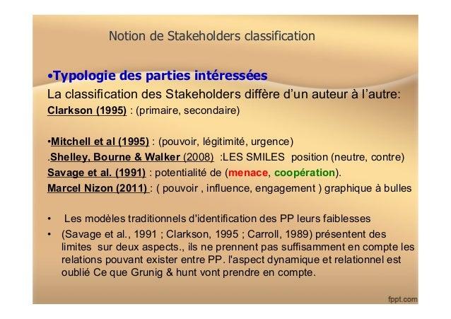 Notion de Stakeholders classification •Typologie des parties intéressées La classification des Stakeholders diffère d'un ...