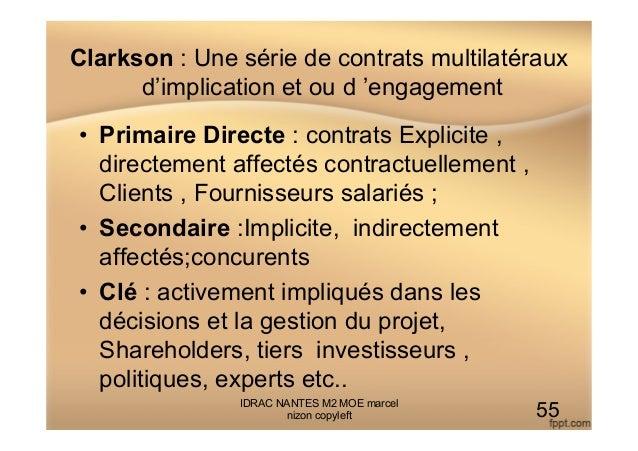 Clarkson : Une série de contrats multilatéraux d'implication et ou d 'engagement • Primaire Directe : contrats Explicite ...