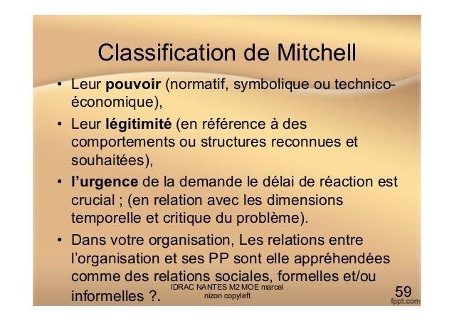 Classification de Mitchell • Leur pouvoir (normatif, symbolique ou technico- économique), • Leur légitimité (en référenc...