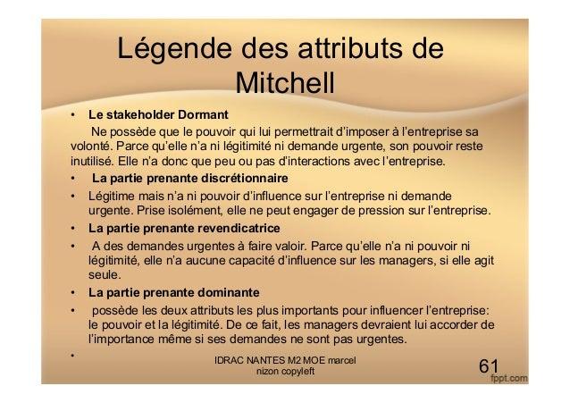 Légende des attributs de Mitchell • Le stakeholder Dormant Ne possède que le pouvoir qui lui permettrait d'imposer à l'en...