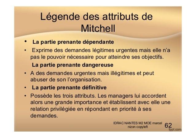 Légende des attributs de Mitchell • La partie prenante dépendante • Exprime des demandes légitimes urgentes mais elle n'...
