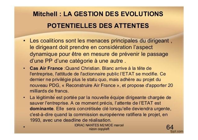 Mitchell : LA GESTION DES EVOLUTIONS POTENTIELLES DES ATTENTES • Les coalitions sont les menaces principales du dirigeant...