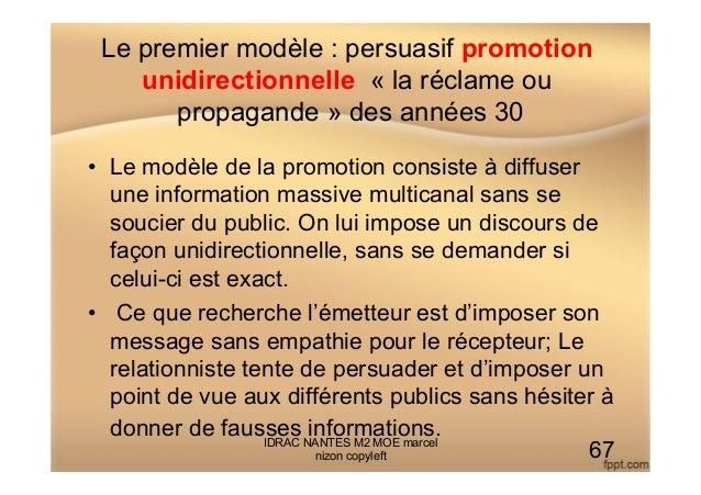 Le premier modèle : persuasif promotion unidirectionnelle « la réclame ou propagande » des années 30 • Le modèle de la pr...