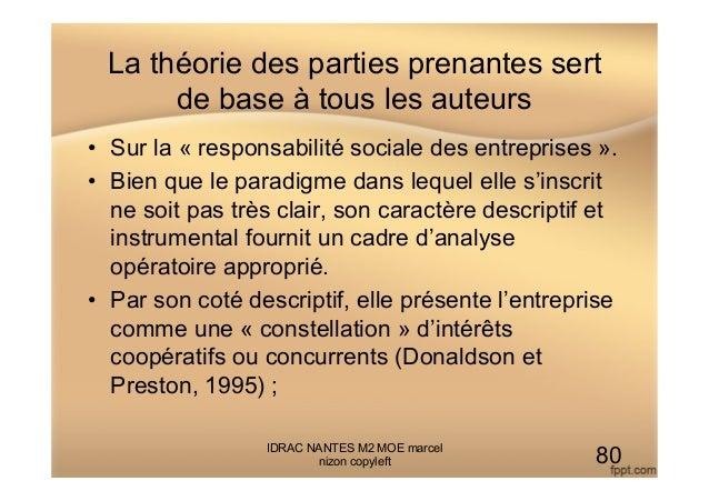 La théorie des parties prenantes sert de base à tous les auteurs • Sur la « responsabilité sociale des entreprises ». • ...