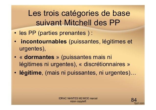 Les trois catégories de base suivant Mitchell des PP • les PP (parties prenantes ) : • incontournables (puissantes, légi...