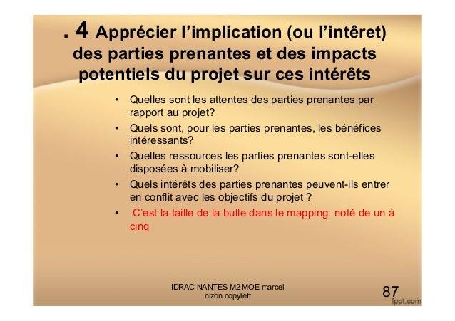 . 4 Apprécier l'implication (ou l'intêret) des parties prenantes et des impacts potentiels du projet sur ces intérêts • Q...
