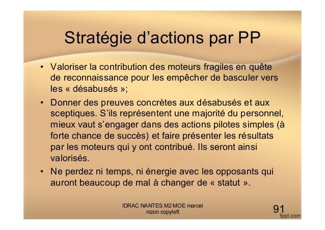 Stratégie d'actions par PP • Valoriser la contribution des moteurs fragiles en quête de reconnaissance pour les empêcher ...