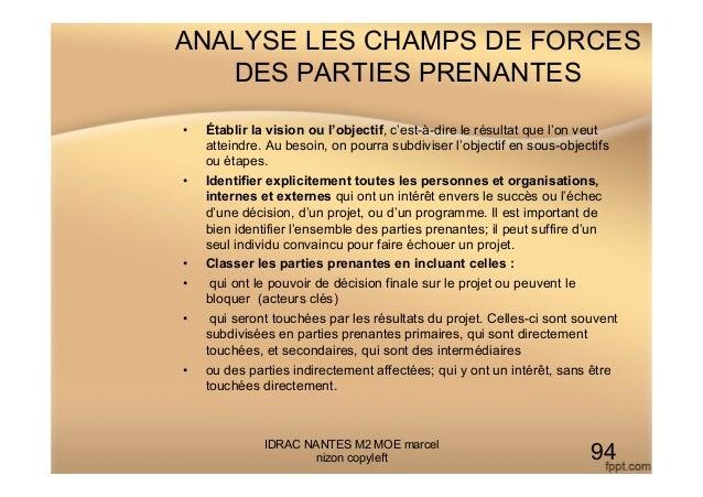 ANALYSE LES CHAMPS DE FORCES DES PARTIES PRENANTES • Établir la vision ou l'objectif, c'est-à-dire le résultat que l'on v...