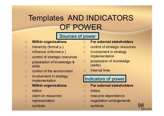 Templates AND INDICATORS OF POWER o Within organisations o hierarchy (formal p.) o influence (informal p.) o contr...
