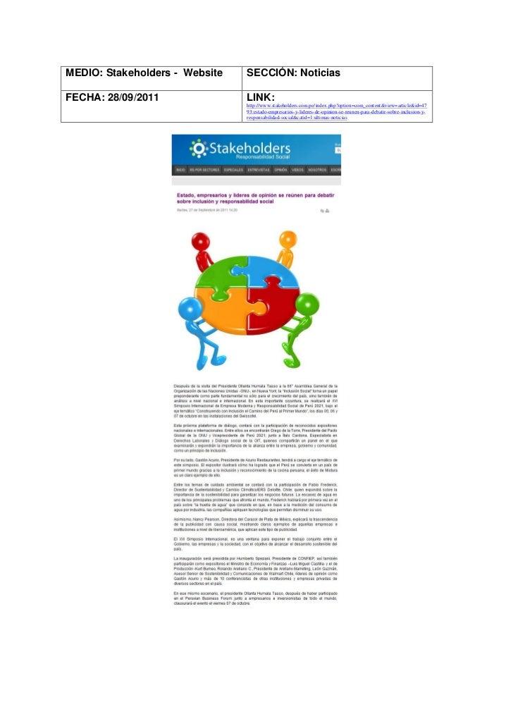 MEDIO: Stakeholders - Website   SECCIÓN: NoticiasFECHA: 28/09/2011               LINK:                                http...