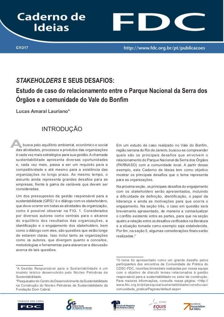 CI1217       Gestão Estratégica do Suprimento e o Impacto no Desempenho das       Empresas BrasileirasSTAKEHOLDERS E SEUS ...