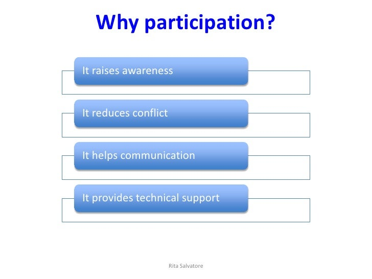 Why participation?It raises awarenessIt reduces conflictIt helps communicationIt provides technical support               ...