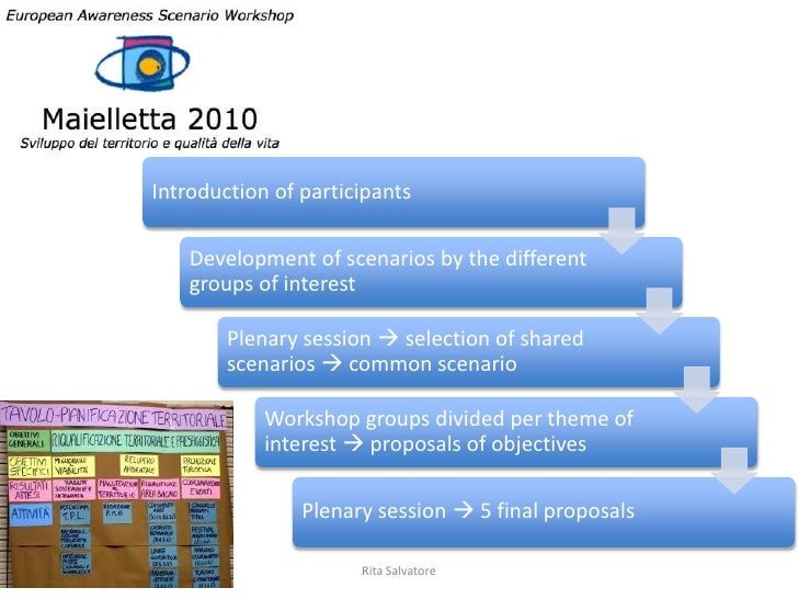 Introduction of participants    Development of scenarios by the different    groups of interest        Plenary session  s...