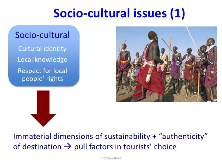 Socio-cultural issues (1)Socio-cultural Cultural identity Local knowledge Respect for local  people' rightsImmaterial dime...