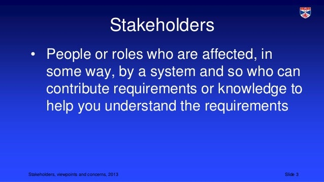 Stakeholders, viewpoints and concerns Slide 3