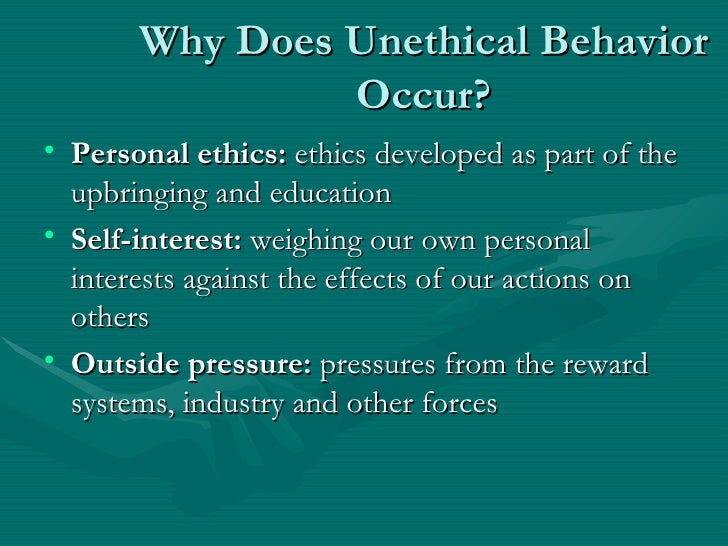 ethical and unethical behavior Workplace behavior ethics will show you how to limit unethical issues using three step process promote ethical behavior in the workplace while creating business code ethics.