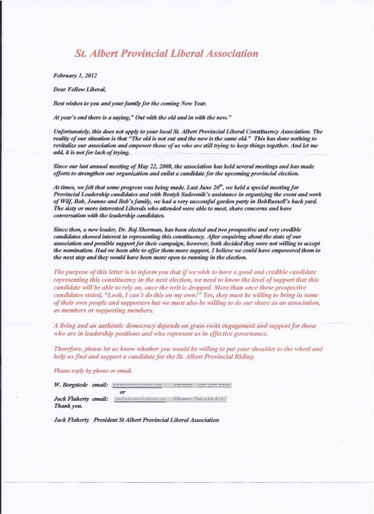 St. Albert Liberal letter February 1, 2012