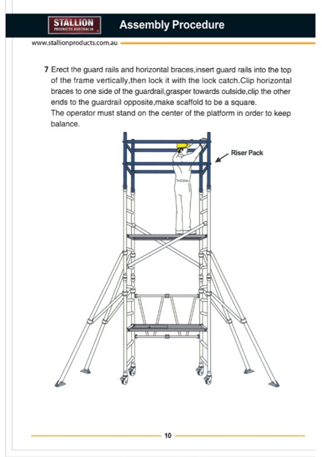 stallion products aluminium scaffold installation guide 12 rim