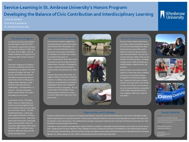 Service-Learning in St. Ambrose University's Honors Program:Developing the Balance of Civic Contribution and Interdiscipli...