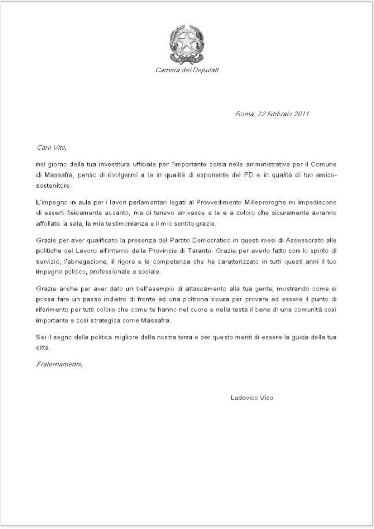 Lettera del On. Vico a Vito Miccolis