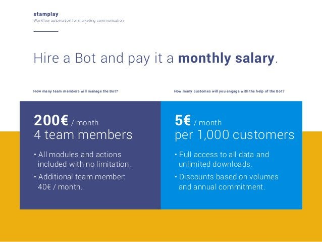 Workflow automation for marketing communication  Hire a Bot and pay it a monthly salary. How many team members will manage...