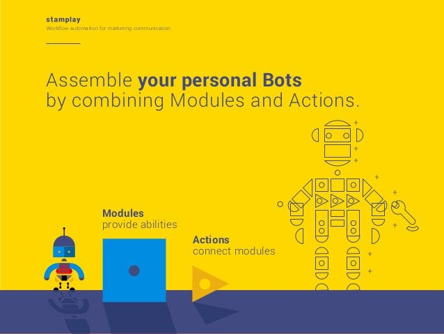 Workflow automation for marketing communication  Assemble your personal Bots by combining Modules and Actions. + + + + +  ...