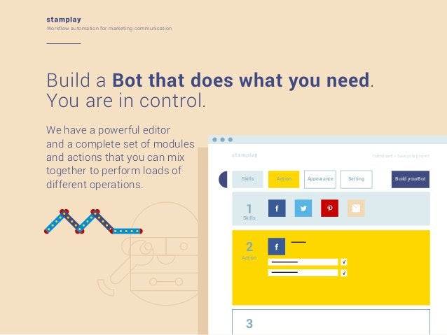 Workflow automation for marketing communication  Build a Bot that does what you need. You are in control. We have a powerf...