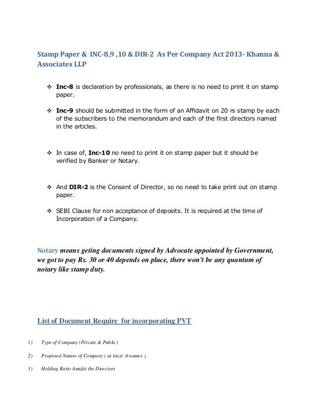 Stamp Paper Inc 8 9 10 Dir 2 As Per Company Act 2013 Khanna A