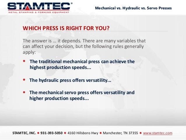 Mechanical vs Hydraulic vs Servo Presses Slide 2