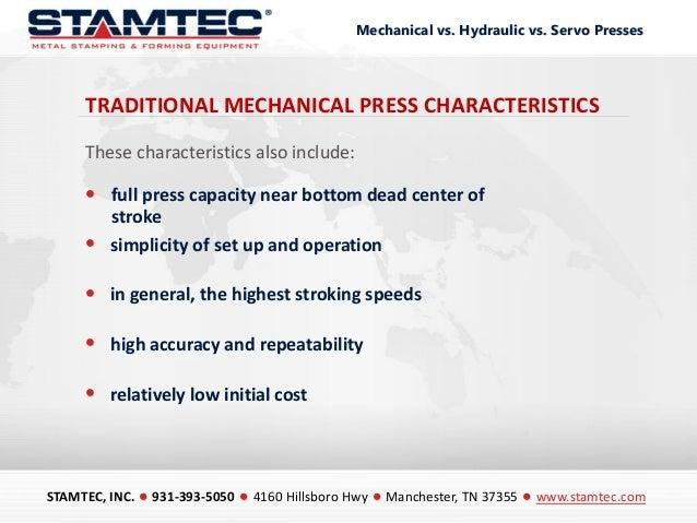 Mechanical vs Hydraulic vs Servo Presses