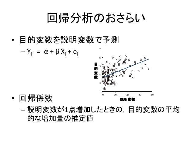 回帰分析のおさらい • 目的変数を説明変数で予測 – Yi = α + β Xi + ei • 回帰係数 – 説明変数が1点増加したときの,目的変数の平均 的な増加量の推定値 2 3 4 5 6 7 0 10 20 30 40 目 的 変 数 ...