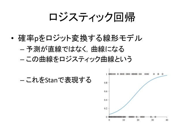 ロジスティック回帰 • 確率pをロジット変換する線形モデル – 予測が直線ではなく,曲線になる – この曲線をロジスティック曲線という – これをStanで表現する