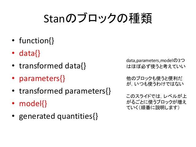 Stanのブロックの種類 • function{} • data{} • transformed data{} • parameters{} • transformed parameters{} • model{} • generated qu...