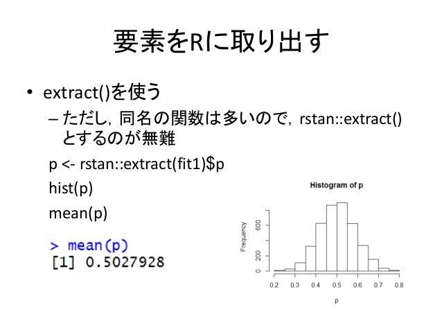 要素をRに取り出す • extract()を使う – ただし,同名の関数は多いので,rstan::extract() とするのが無難 p <- rstan::extract(fit1)$p hist(p) mean(p)