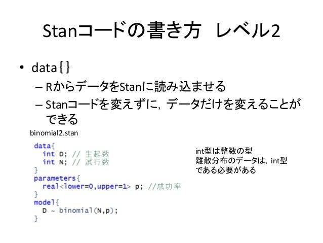 Stanコードの書き方 レベル2 • data{} – RからデータをStanに読み込ませる – Stanコードを変えずに,データだけを変えることが できる int型は整数の型 離散分布のデータは,int型 である必要がある binomial2...
