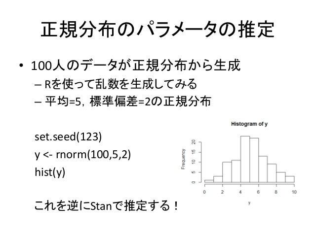 正規分布のパラメータの推定 • 100人のデータが正規分布から生成 – Rを使って乱数を生成してみる – 平均=5,標準偏差=2の正規分布 set.seed(123) y <- rnorm(100,5,2) hist(y) これを逆にStanで...