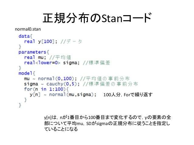 正規分布のStanコード y[n]は,nが1番目から100番目まで変化するので,yの要素の全 部について平均mu,SDがsigmaの正規分布に従うことを指定し ていることになる normal0.stan 100人分,Forで繰り返す