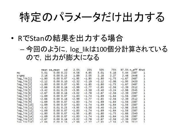 特定のパラメータだけ出力する • RでStanの結果を出力する場合 – 今回のように,log_likは100個分計算されている ので,出力が膨大になる