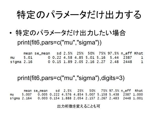 """特定のパラメータだけ出力する • 特定のパラメータだけ出力したい場合 print(fit6,pars=c(""""mu"""",""""sigma"""")) print(fit6,pars=c(""""mu"""",""""sigma""""),digits=3) 出力桁数を変えることも可"""