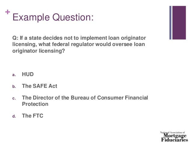Stand Alone Uniform State Test for Mortgage Loan ...