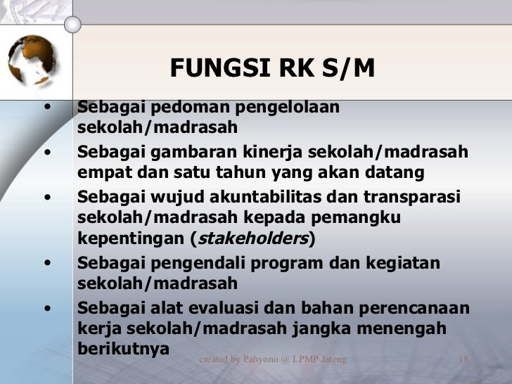 FUNGSI RK S/M <ul><li>Sebagai pedoman pengelolaan sekolah/madrasah </li></ul><ul><li>Sebagai gambaran kinerja sekolah/madr...